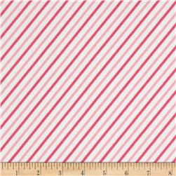 Cozy Cotton Flannel Bias Stripe Pink