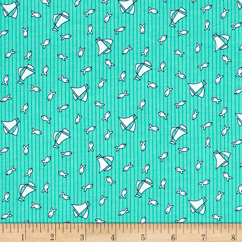 Image of Bon Voyage Fishing Boats Jade Fabric