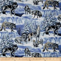 Snowscapes Wolves Light Blue