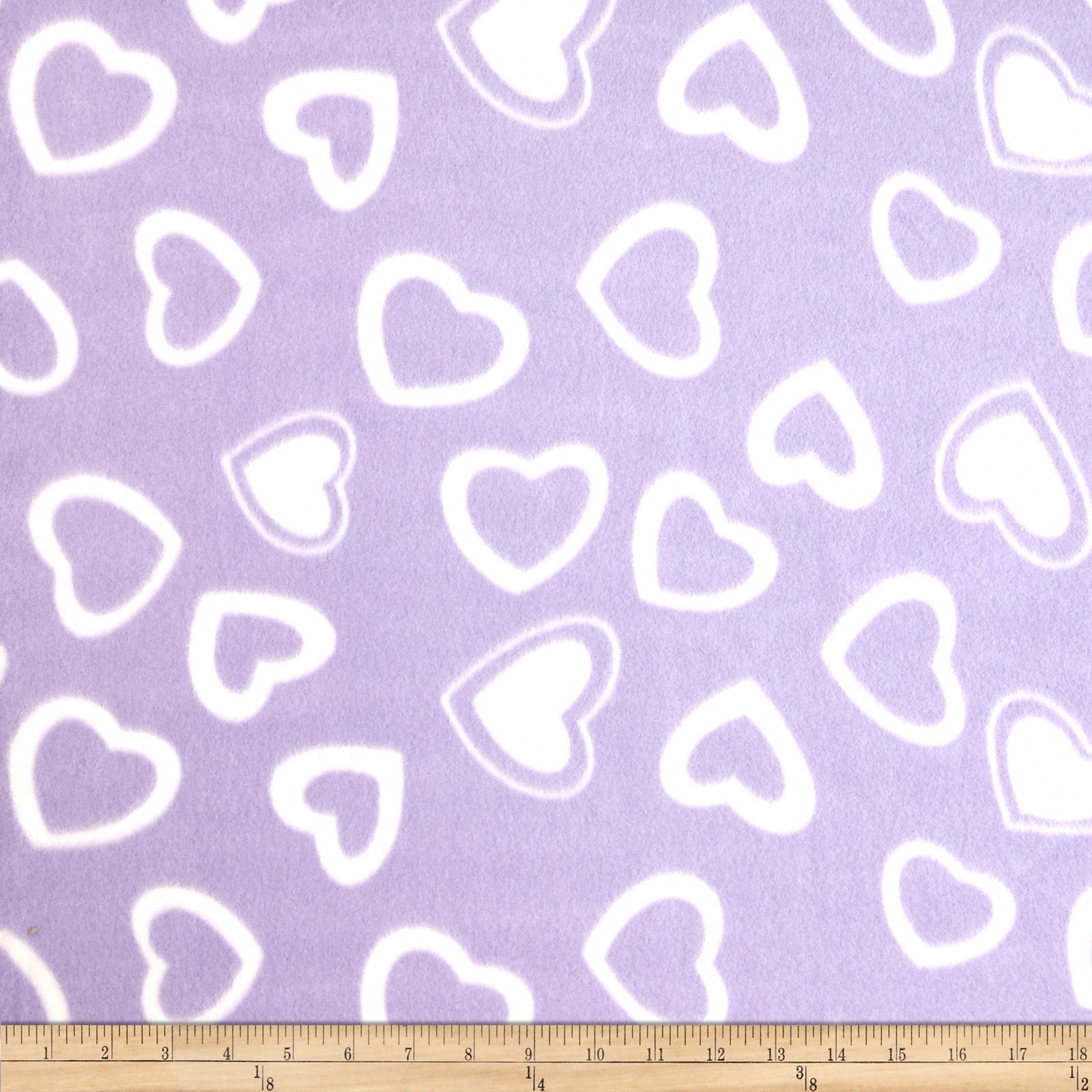 Fleece Print Hearts Purple Fabric