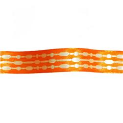 "5/8"" Jacquard Ribbon Satin Stitches Orange"