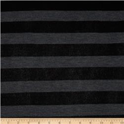 Heather Stripe Hatchi Sweater Knit Black/Grey Fabric
