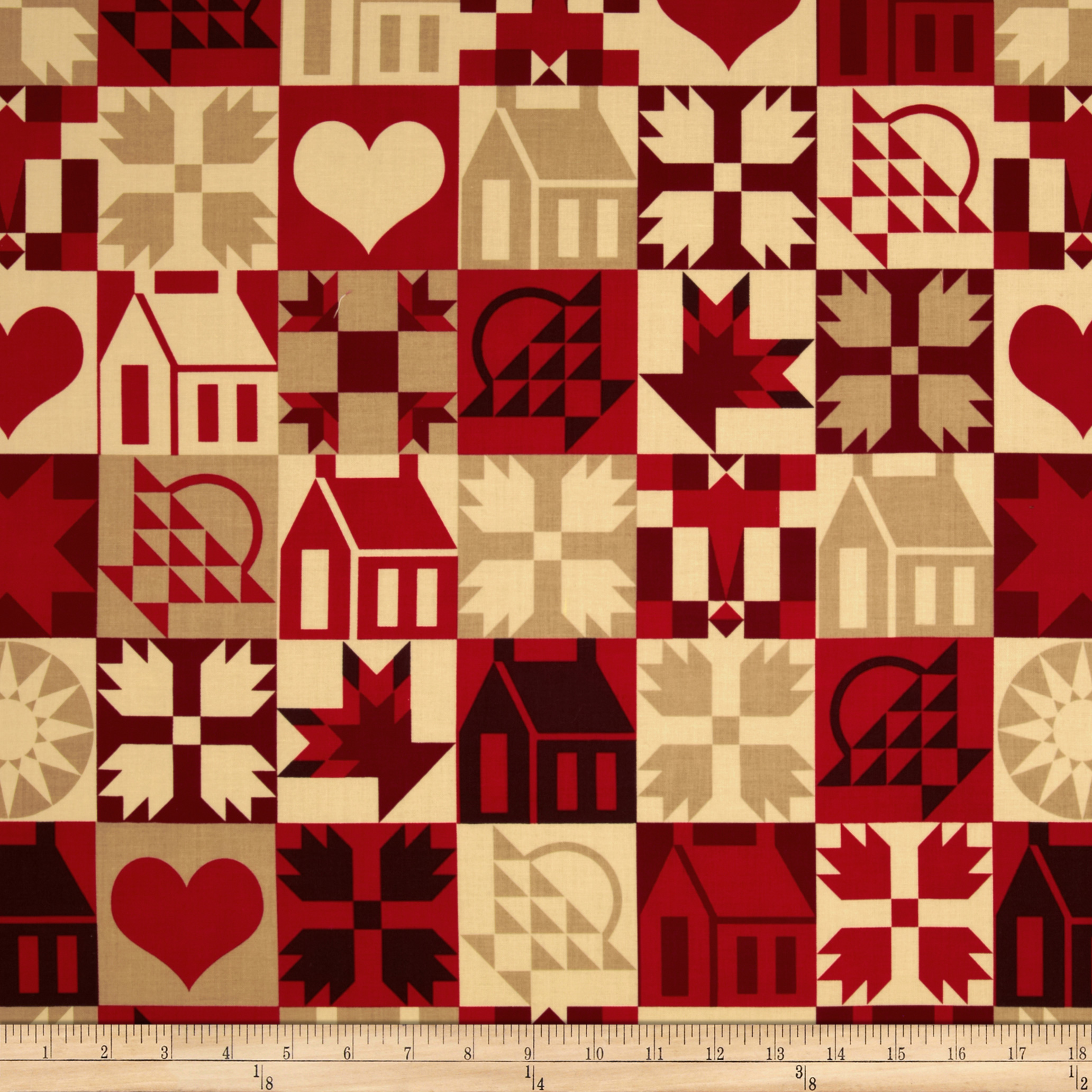 Hickory House Houses and Hearts in Squares Red/White/Tan