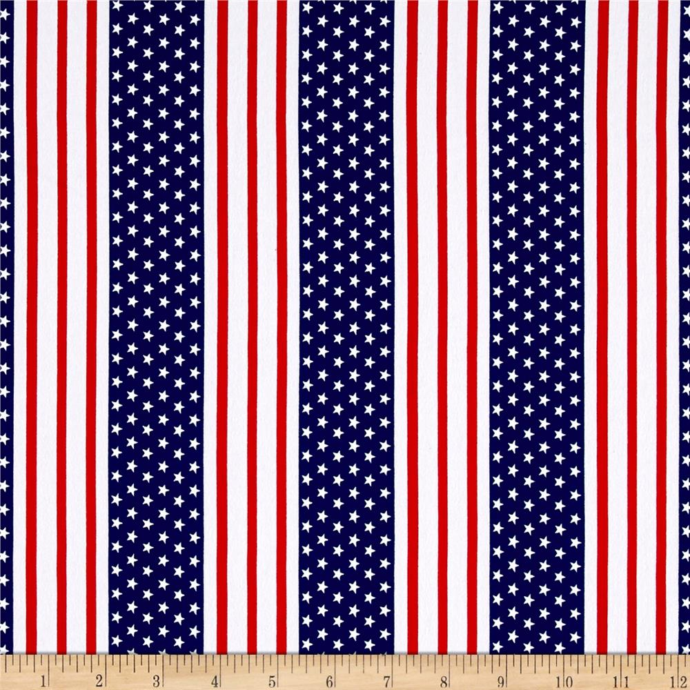 Cotton Jersey Knit American Stars and Stripes Fabric