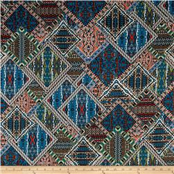 Telio Monaco Stretch ITY Knit Mosaic Print Teal/Rust/Black