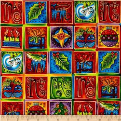 Laurel Burch Enchantment Metallic Holiday Squares Multi Bright