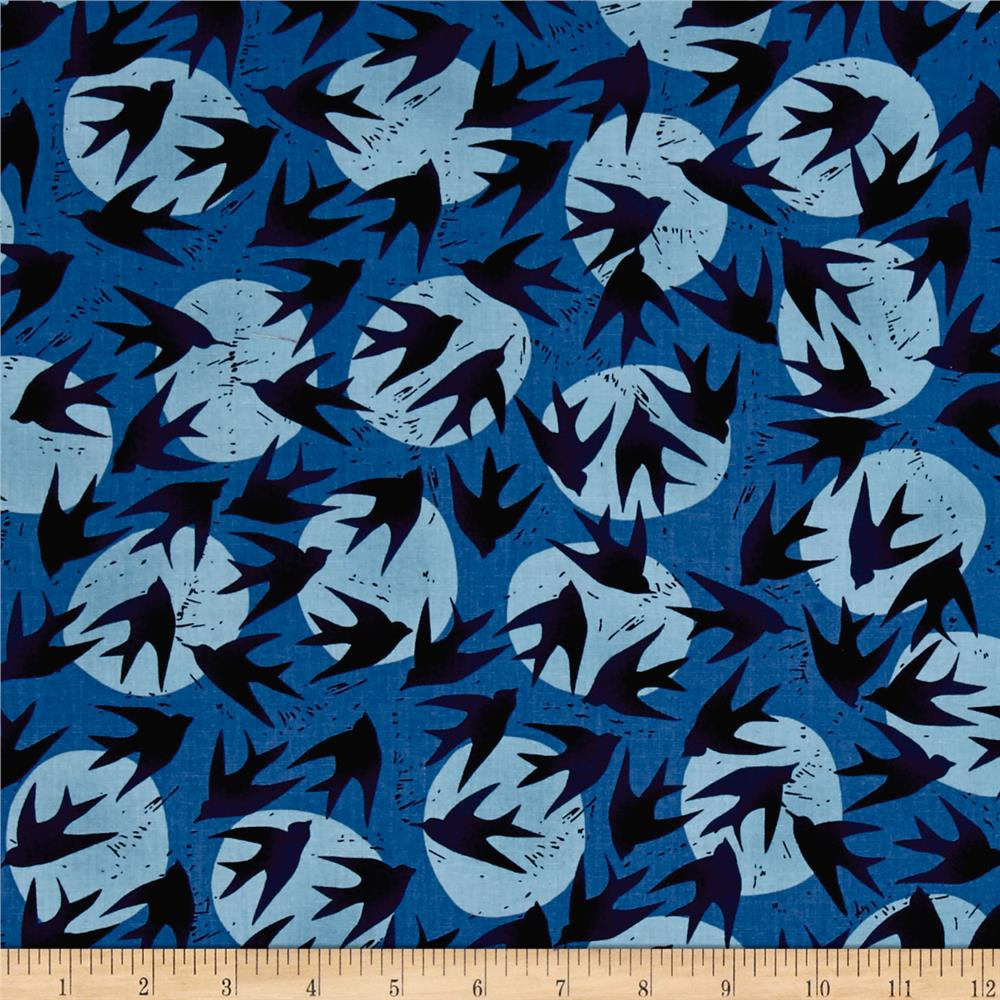 Kaufman Marks by Valori Wells Birds Royal Blue