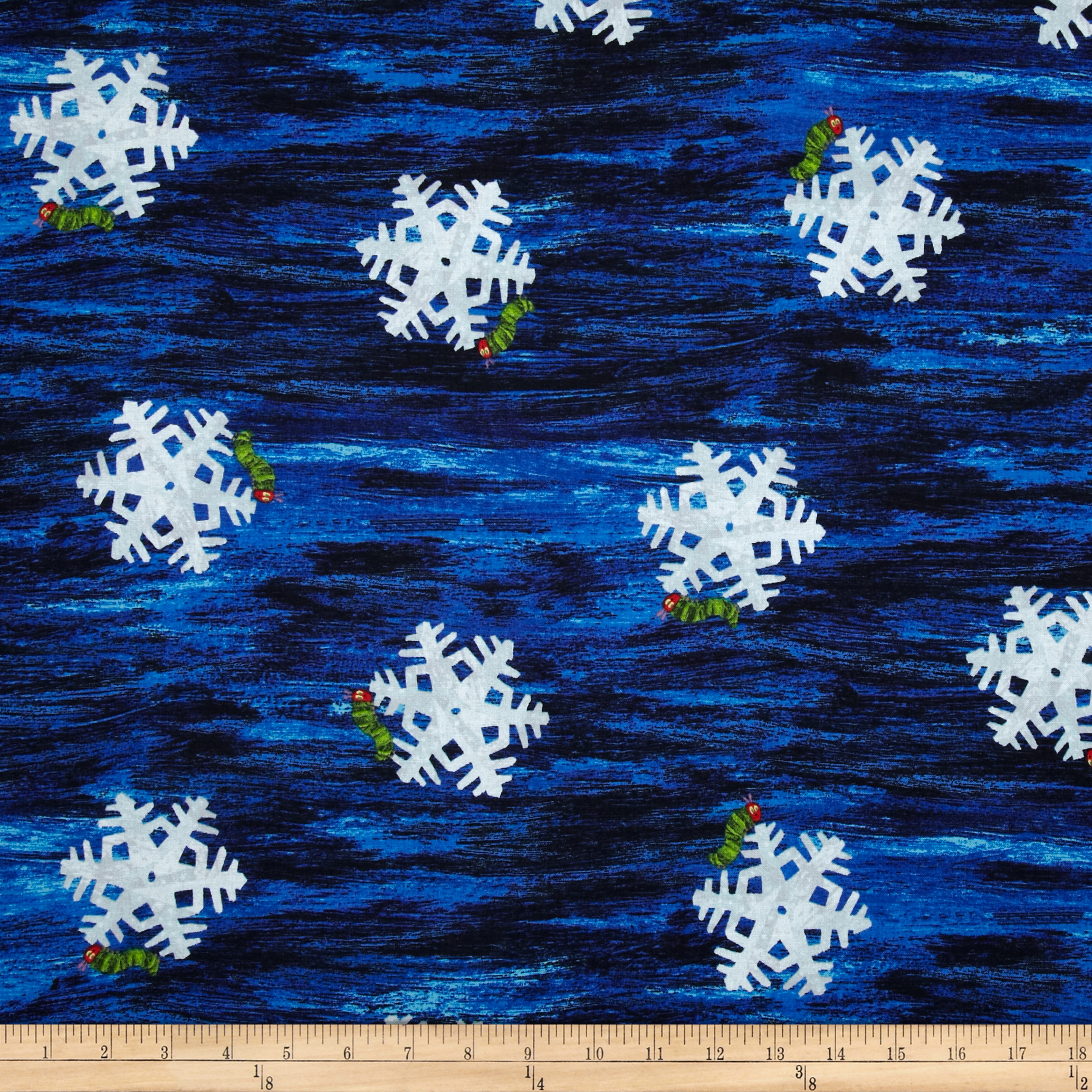 The Very Hungry Caterpillar Christmas Snowflake Blue Fabric