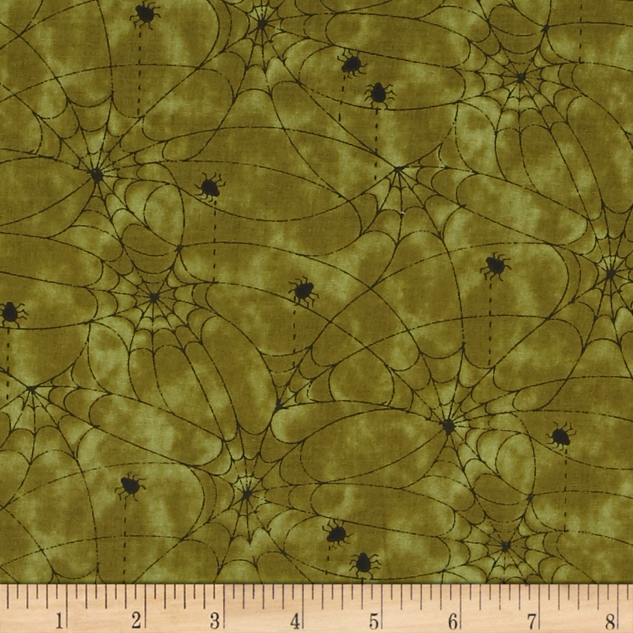 On the Web Spider Web Green Fabric by Red Rooster in USA
