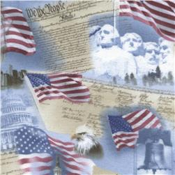 Timeless Treasures Flannel USA Monuments Sky