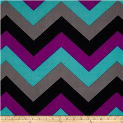 Stretch ITY Jersey Knit Large Chevron Purple/Black