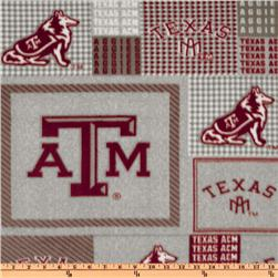Collegiate Fleece Texas A&M Plaid Blocks Red/Blue Fabric