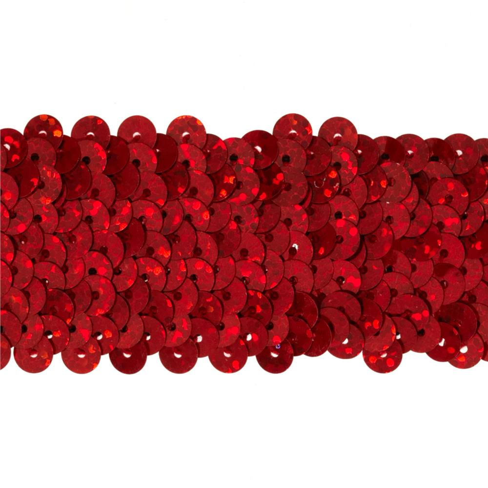 "1-1/2"" Hologram Stretch Sequin Trim Red"