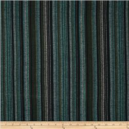 Yarn Dyed Flannel Stripe Teal/Black/Green