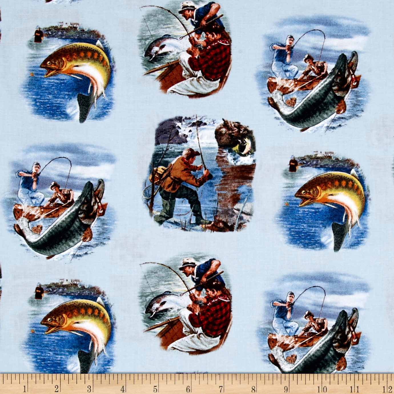 Image of Sports Afield Fishing Scenic Blue Fabric