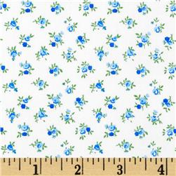 "108"" Quilt Backing Rosebuds Blue"