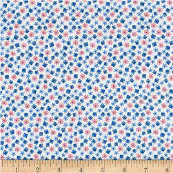 Nana Mae 1930's Floral And Square Geo Blue