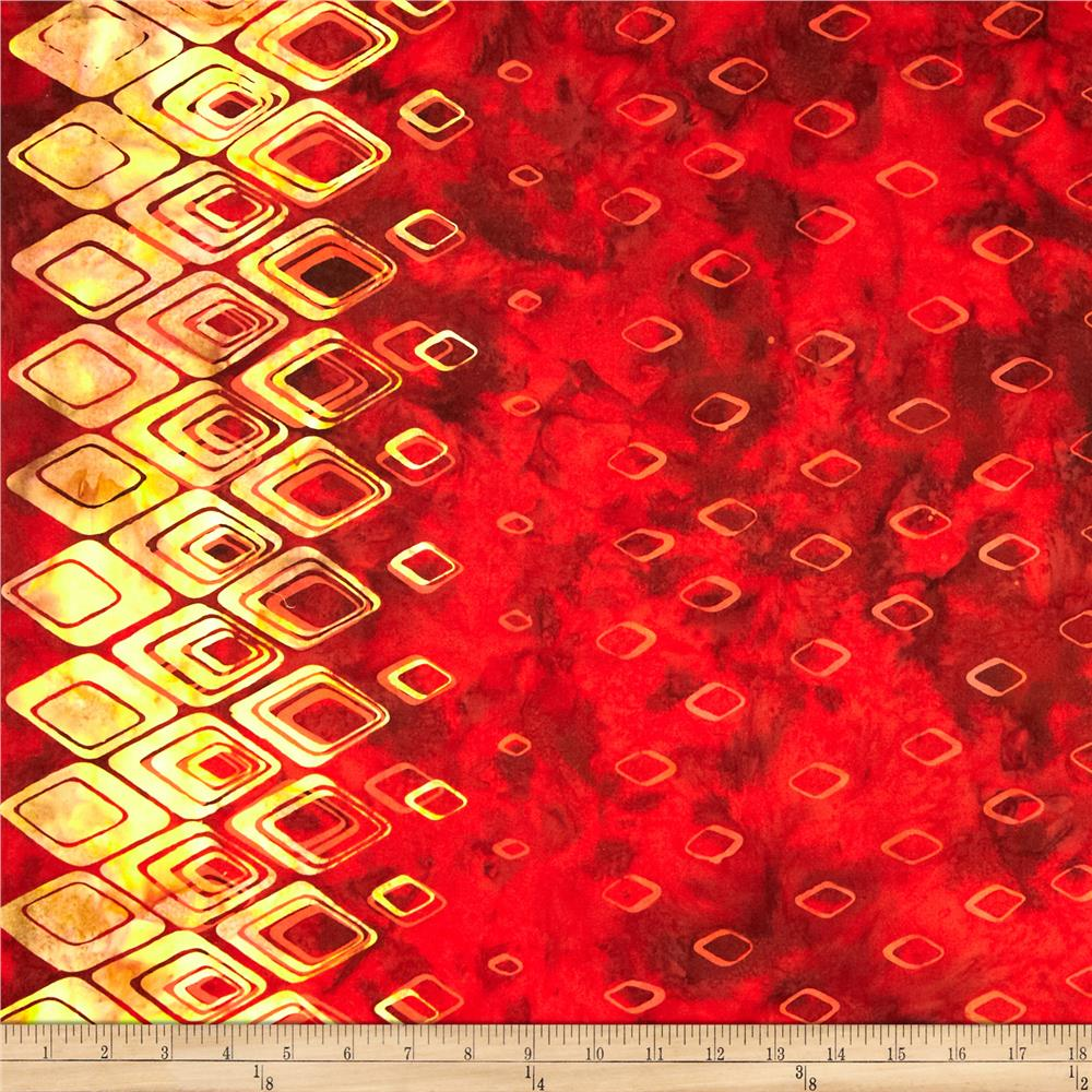 Bali Batiks Handpaints Diamond Border Paprika