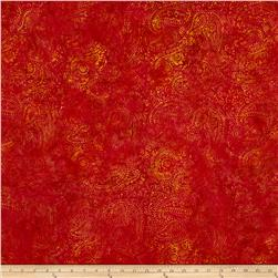 Island Batik Paisley Red/Gold