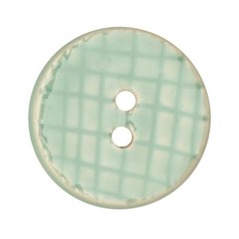 Ceramic Button 1 1/4'' Grid Textures Blue