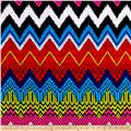 Techno Scuba Knit Abstract Zig Zag Rainbow