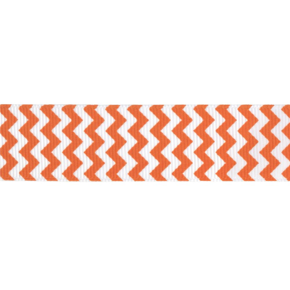Riley Blake 7/8'' Grosgrain Ribbon Chevron Orange