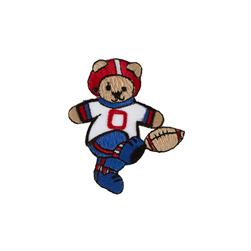 Football Bear Applique Blue