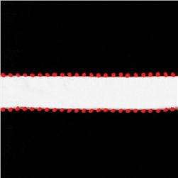 1 1/2'' Pom-Pom Edge Wired Ribbon White/Red