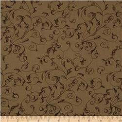 "110"" Wide Quilt Backing Filigree Coffee"