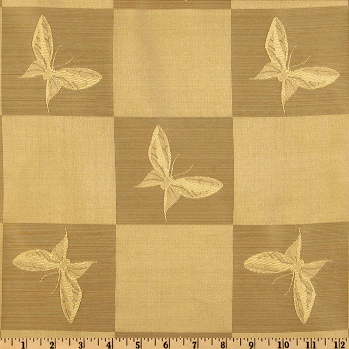 Image of Regal Jacquard Butterfly Golden Fawn Fabric