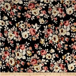Liverpool Double Knit Tossed Flowers Black/Multi
