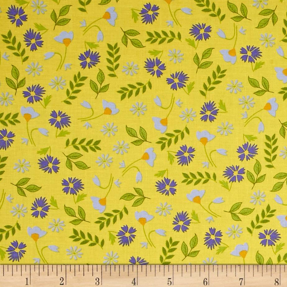 Penny Rose Meadow Sweets Floral Yellow Fabric