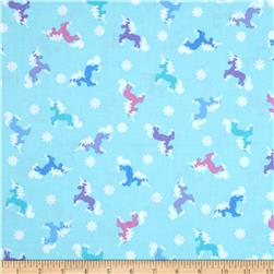 Timeless Treasures Snow Princess Metallic Tossed Unicorns Aqua