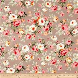 Rayon Challis Dreamer Floral Taupe
