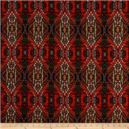 Rayon Challis Bohemian Print Rust/Orange