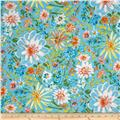 Butterfly Garden Watercolor Floral Turquoise