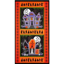 Ghosts and Ghouls Haunted House Panel Orange