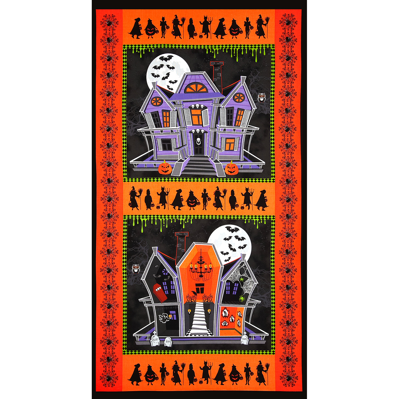 Ghosts and Ghouls Haunted House Panel Orange Fabric