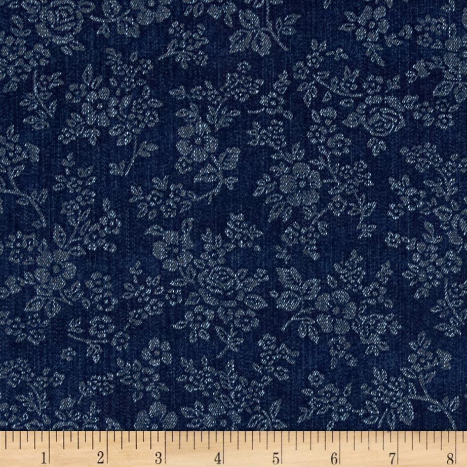 Stretch Floral Denim Indigo