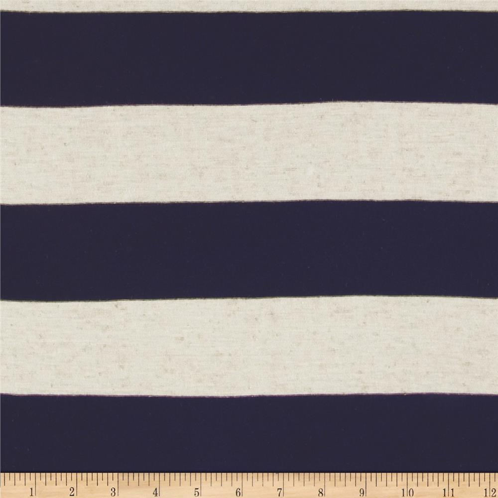 Yarn Dyed Jersey Knit Wide Stripe Natural/Black