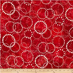 Artisan Batiks Elementals Dotted Circles Red Fabric