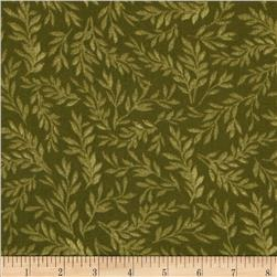 108'' Wide Tonal Leaf Quilt Back Olive Fabric