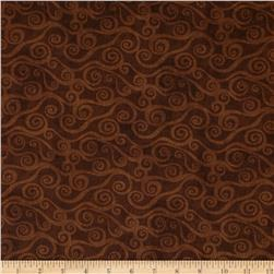 108'' Wide Quilt Back Swirly Scroll Brown Fabric