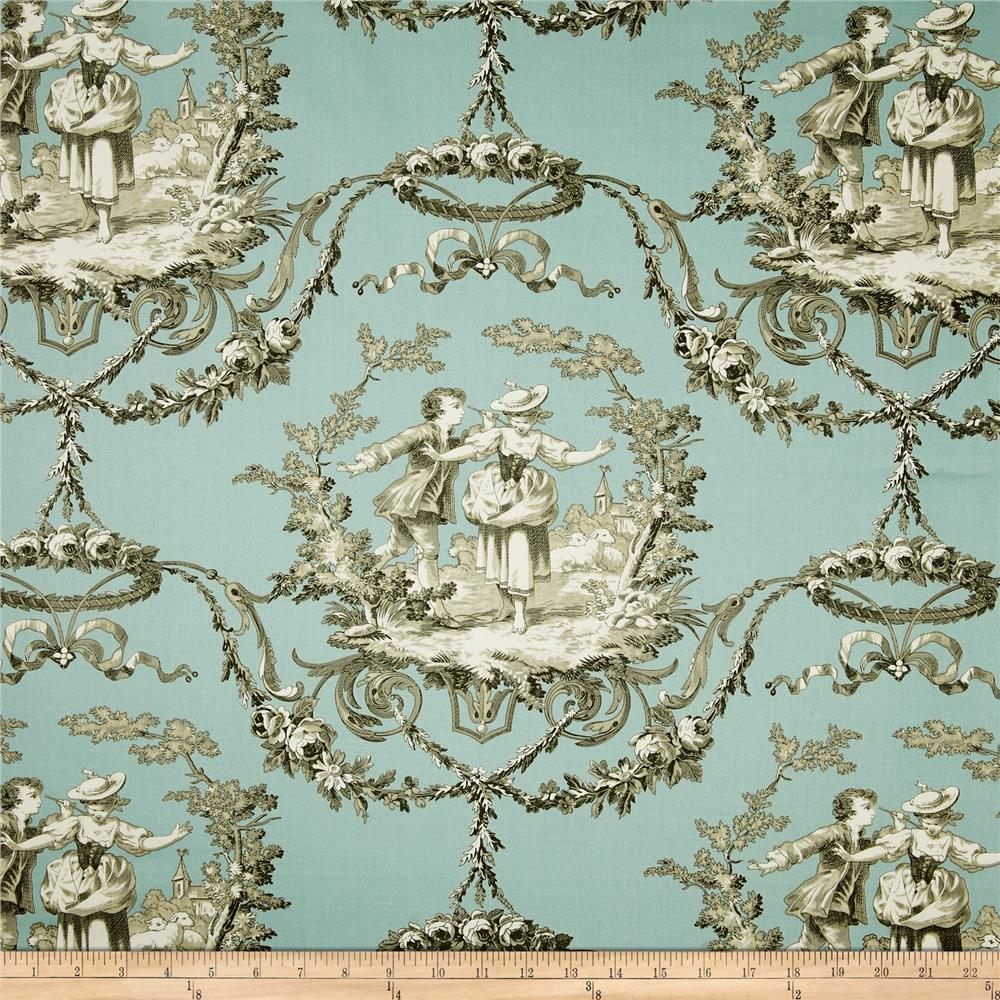 Richloom Sweet William Toile Twill Aqua Discount