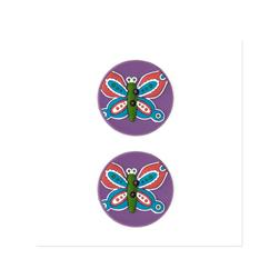 Novelty Button Rubber Butterfly 1'' Purple/Multi