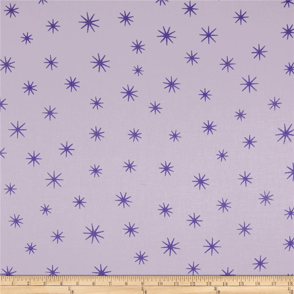 Shining star glitter lilac discount designer fabric for Star design fabric
