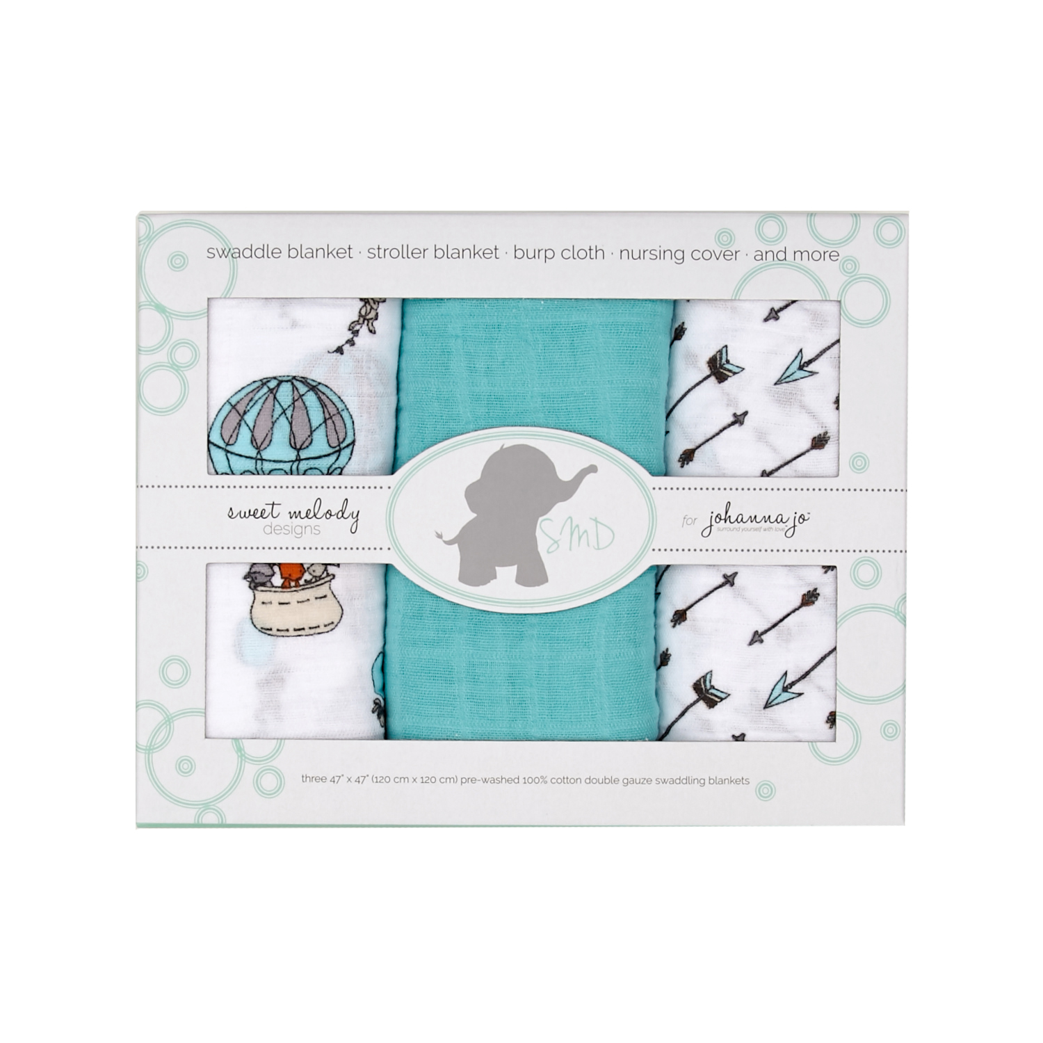 Embrace Double Gauze Swaddle 3 Pack Away We Go by Shannon in USA