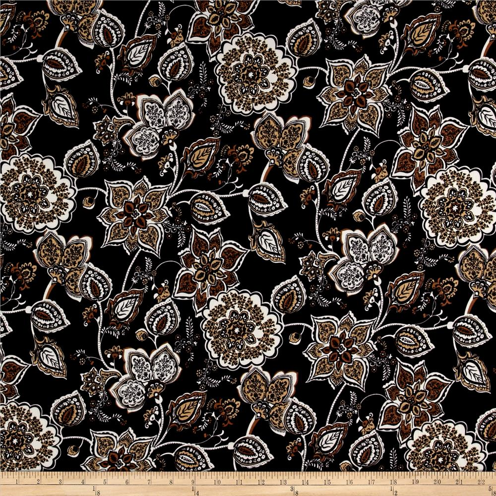 ITY Brushed Jersey Knit Floral Black/Gold