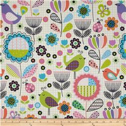 Tweet Birds and Flowers White Fabric