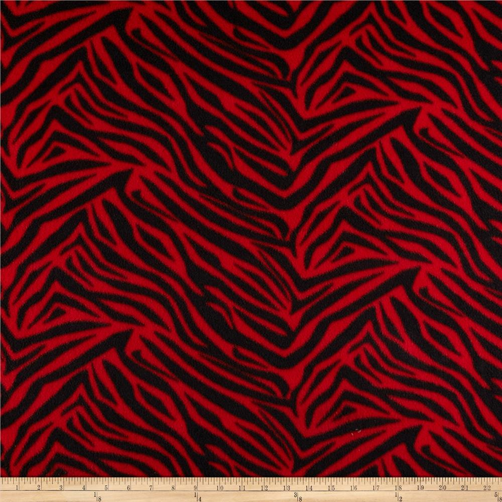 Fleece Print Zebra Red/Black